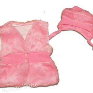 Vesta blanita cu caciula,roz