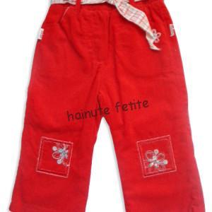 Pantalon reiat floral,rosu-fata