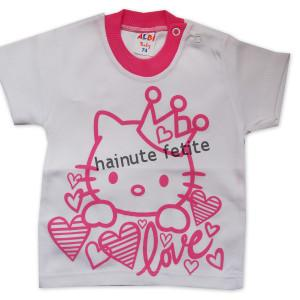 Tricou Hello Kitty,alb-roz