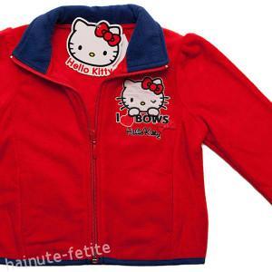 Jacheta polar Hello Kitty,rosu-albastru