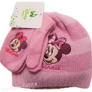 Set caciula+manusi Minnie Mouse bebe,roz
